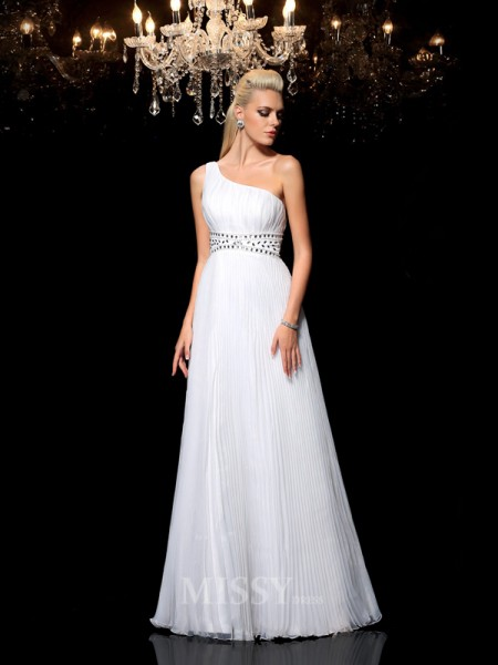 A-Line/Princess One-Shoulder Floor-Length Organza Dress With Rhinestone Beading