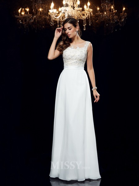 A-Line/Princess Scoop Chiffon Floor-Length Dress With Ruched Applique