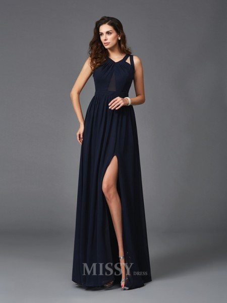 A-Line/Princess Straps Chiffon Floor-Length Dress With Ruffles