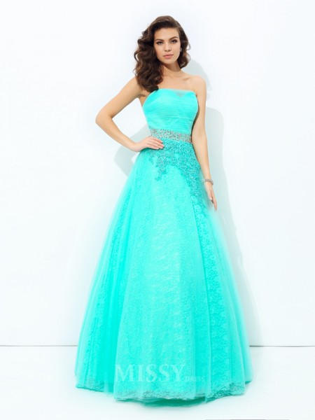 A-Line/Princess Strapless Elastic Woven Satin Floor-Length Dress With Sequin