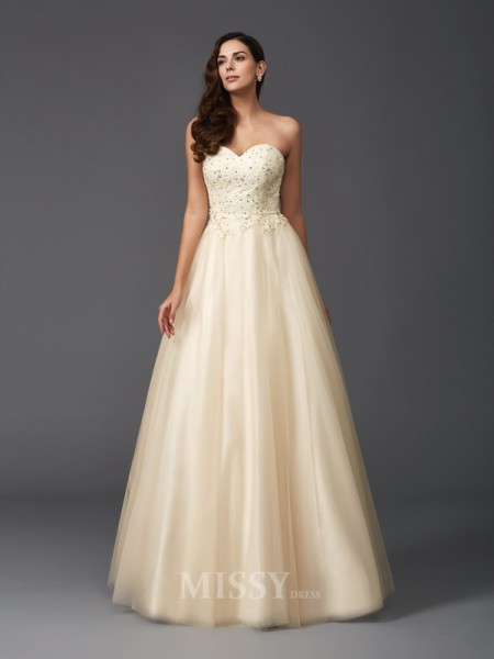 A-Line/Princess Sweetheart Net Floor-Length Dress With Beading