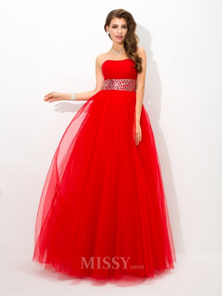 Ball Gown Strapless Floor-Length Net Dress With Lace Beading