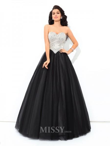 Ball Gown Sweetheart Floor-Length Net Quinceanera Dress With Pleats Paillette