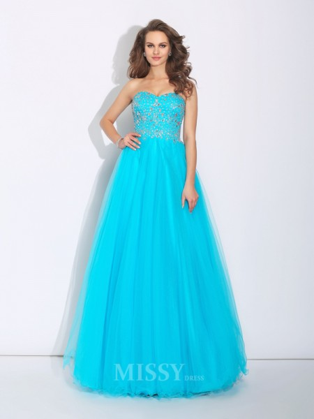 A-Line/Princess Sweetheart Floor-Length Satin Dress With Beading Rhinestone