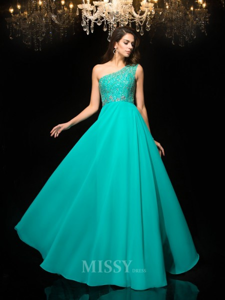 A-Line/Princess One-Shoulder Floor-Length Chiffon Dress With Lace Beading