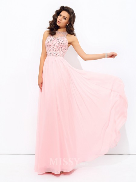 A-Line/Princess Jewel Chiffon Floor-Length Dress With Pleats Beading