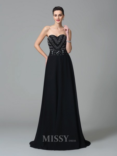 A-Line/Princess Sweetheart Sweep/Brush Train Chiffon Dress With Sequin Beading