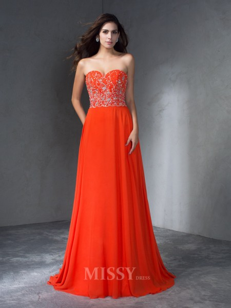 A-Line/Princess Sweetheart  Sweep/Brush Train Chiffon Dress With Lace Beading