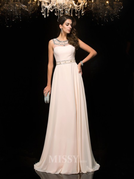 A-Line/Princess Scoop Chiffon Floor-Length Dress With Beading