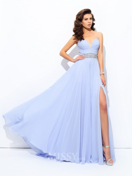 A-Line/Princess Sweetheart Sweep/Brush Train Chiffon Dress With Beading