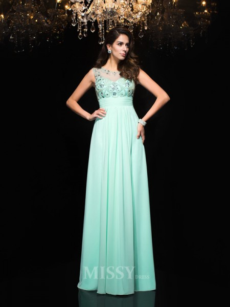A-Line/Princess Sheer Neck Chiffon Floor-Length Dress With Sequin Beading