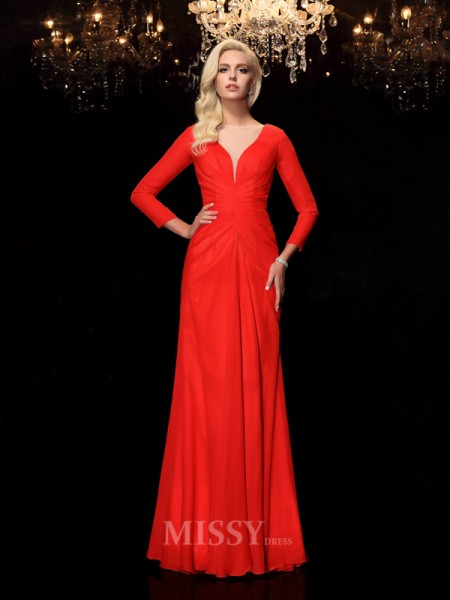 Sheath/Column Bateau Long Sleeves Floor-Length Chiffon Dress With Ruffles