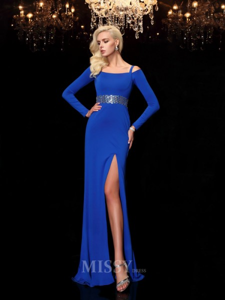 Sheath/Column Bateau Long Sleeves Sweep/Brush Train Spandax Dress With Beading