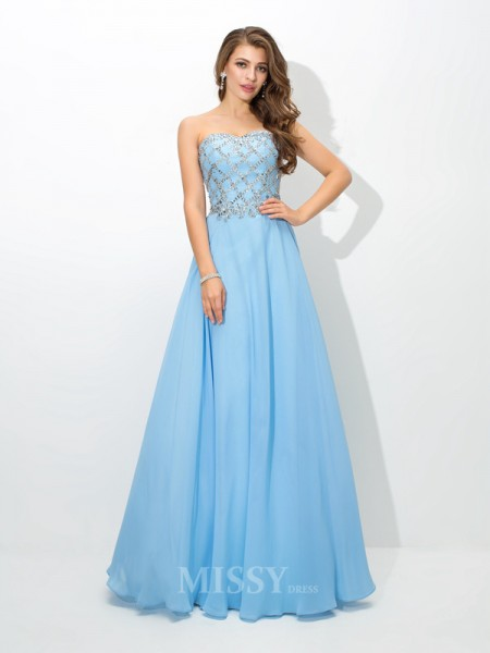 A-Line/Princess Sweetheart Floor-Length Chiffon Dress With Embroidery Beading