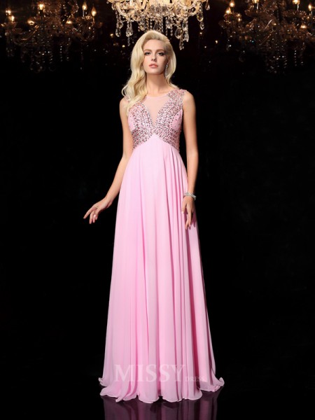 A-line/Princess Scoop Floor-Length Chiffon Dress With Beading