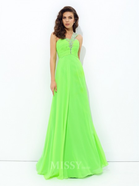 A-Line/Princess One-Shoulder Floor-Length Chiffon Dress With Beading Rhinestone