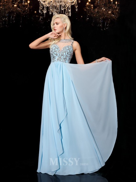 A-line/Princess Scoop Floor-Length Chiffon Dress With Lace Beading