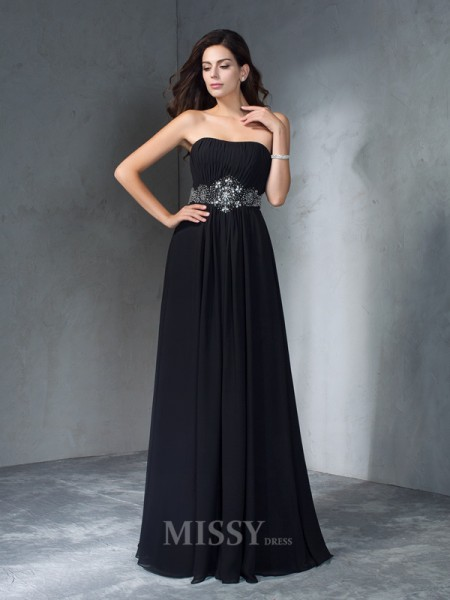 A-Line/Princess Strapless Beading Chiffon Floor-Length Dress With Pleats