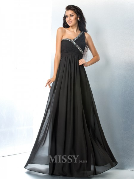 A-Line/Princess One-Shoulder Floor-Length Chiffon Dress With Ruched