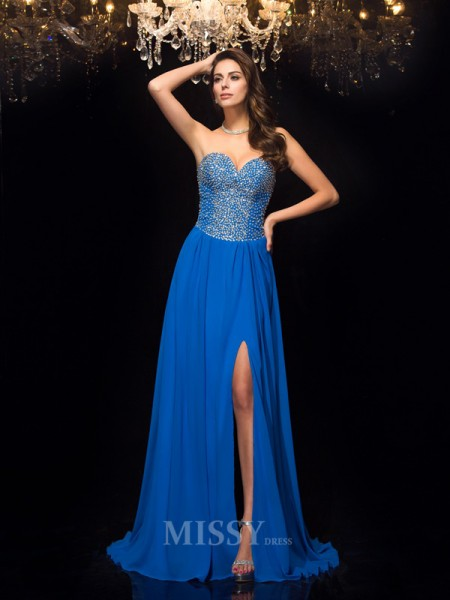 A-Line/Princess Sweetheart Chiffon Sweep/Brush Train Dress With Ruffles Beading