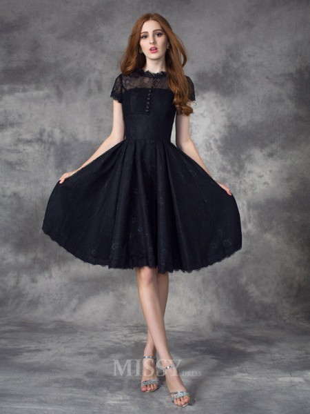 A-line/Princess Jewel Short Sleeves Lace Knee-Length Dress With Beading