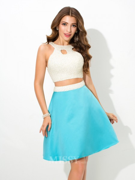 A-Line/Princess Jersey Mini Satin Two Piece Dress With Sequin Beading