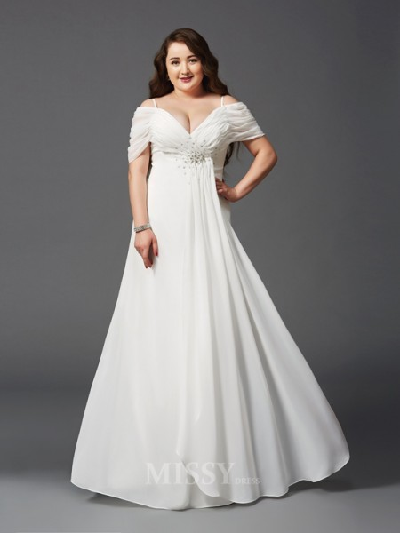 A-Line/Princess Off-the-Shoulder Short Sleeves Floor-Length Chiffon Plus Size Dress With Applique Ruched
