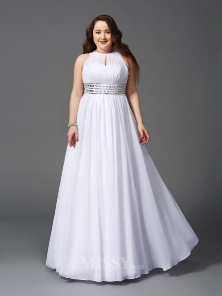 A-Line/Princess Jewel Floor-Length Chiffon Plus Size Dress With Rhinestone Beading
