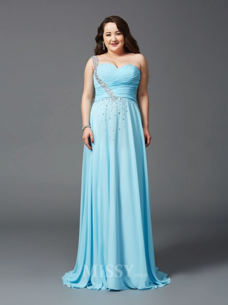A-Line/Princess One-Shoulder Sweep/Brush Train Chiffon Plus Size Dress With Beading Rhinestone