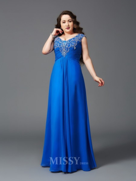 A-Line/Princess Straps Floor-Length Short Sleeves Chiffon Plus Size Dress With Sequin Beading