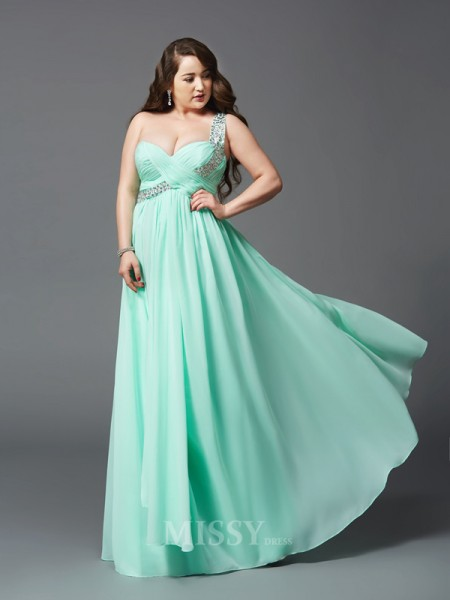 A-Line/Princess One-Shoulder Floor-Length Chiffon Plus Size Dress With Pleats Rhinestone