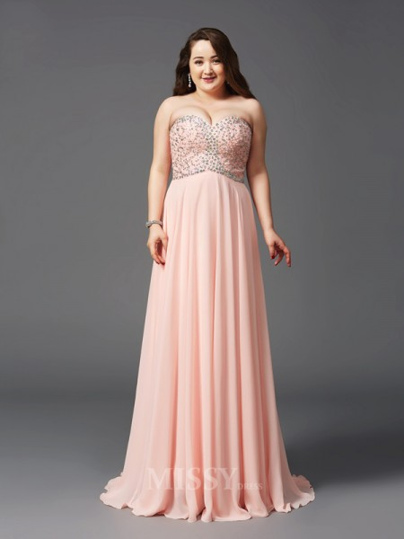A-Line/Princess Sweetheart Sweep/Brush Train Chiffon Plus Size Dress With Ruffles Beading