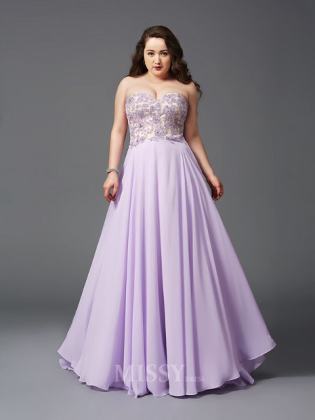 A-Line/Princess Sweetheart Lace Sweep/Brush Train Chiffon Plus Size Dress With Beading