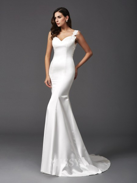 Trumpet/Mermaid Straps Sweep/Brush Train Satin Wedding Dress With Embroidery