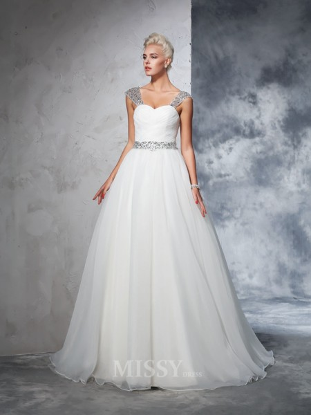 Ball Gown Straps Net Chapel Train Wedding Gown Beading Ruched
