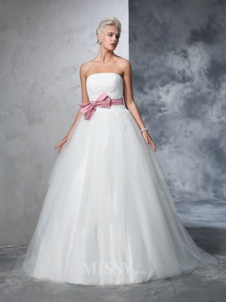 Ball Gown Strapless Net Court Train Bowknot Wedding Gown With Ruffles
