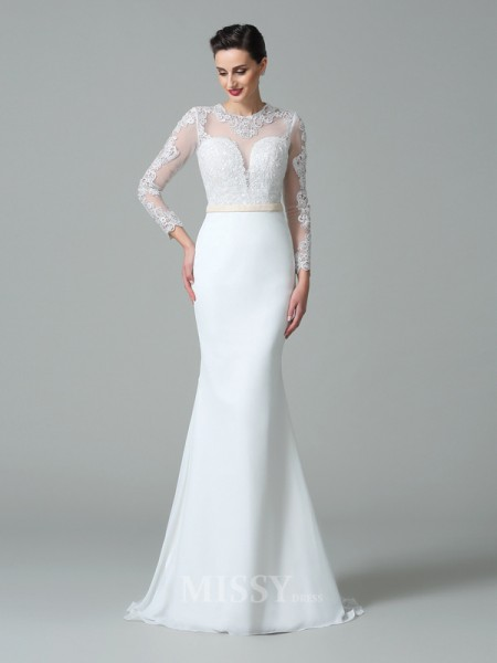 Trumpet/Mermaid Jewel Long Sleeves Lace Sweep/Brush Train Satin Wedding Dress With Sequin