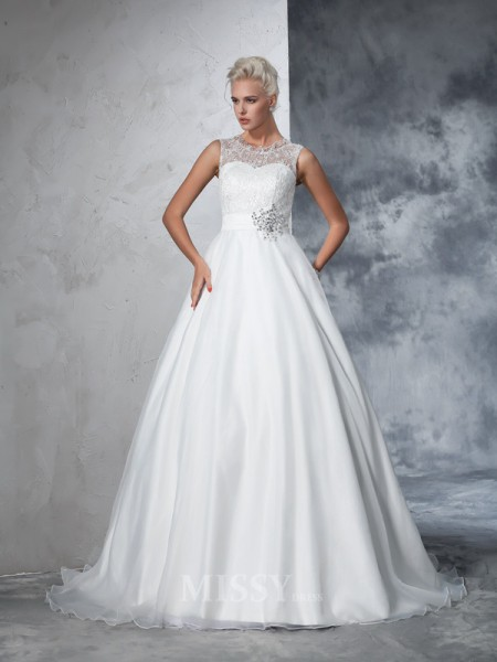 Ball Gown Sheer Neck Net Lace Chapel Train Wedding Gown With Lace