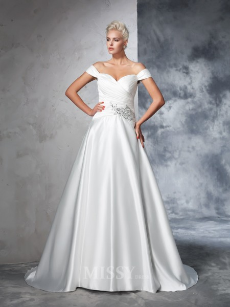 Ball Gown Taffeta Off-the-Shoulder Ruched Chapel Train Wedding Gown With Embroidery