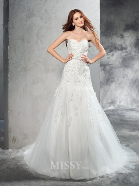 Sheath/Column Sweetheart Court Train Satin Wedding Dress With Rhinestone Applique