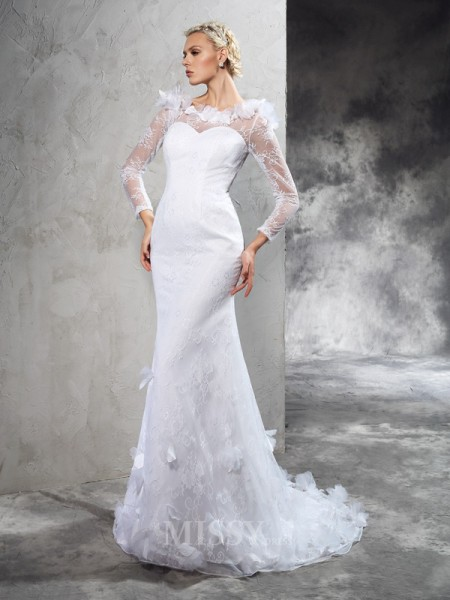 Sheath/Column Sheer Neck Long Sleeves Court Train Satin Wedding Dress With Beading Hand-Made Flower
