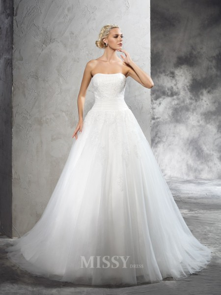 Ball Gown Strapless Court Train Satin Wedding Dress With Beading Applique