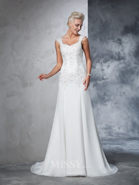 A-Line/Princess Straps Chiffon Beading Court Train Wedding Gown With Sequin