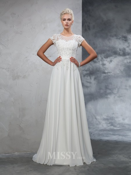 A-Line/Princess Short Sleeves Sheer Neck Chiffon Applique Sweep/Brush Train Wedding Gown With Pleats