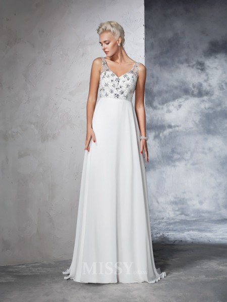 A-Line/Princess V-neck Chiffon Beading Sweep/Brush Train Wedding Gown With Sash