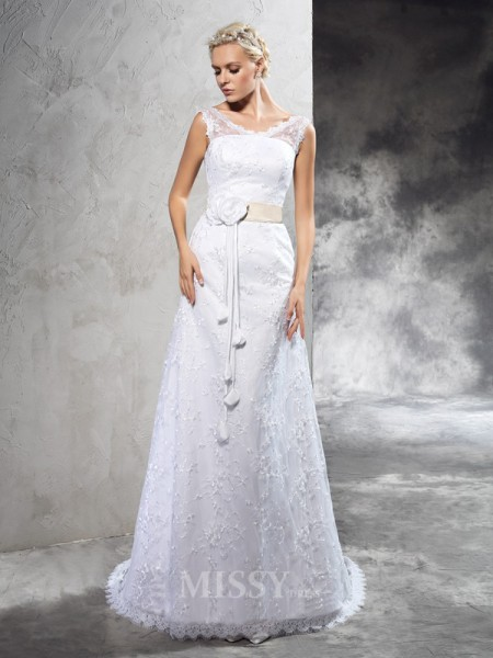 Sheath/Column Sheer Neck Court Train Satin Wedding Dress With Applique Hand-Made Flower