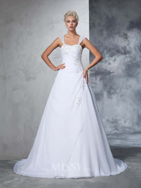 Ball Gown Straps Chiffon Court Train Wedding Gown With Beading Applique