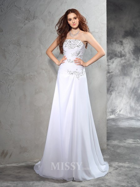 Sheath/Column Strapless Sweep/Brush Train Chiffon Wedding Dress With Lace Beading
