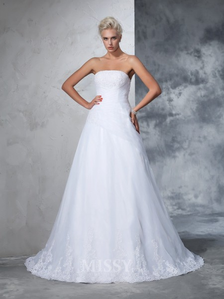 Ball Gown Strapless Net Court Train Wedding Gown With Beading Applique