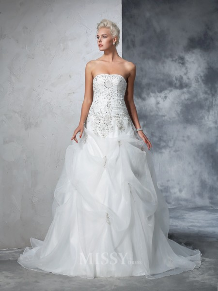 Ball Gown Strapless Tulle Chapel Train Wedding Gown With Applique Beading